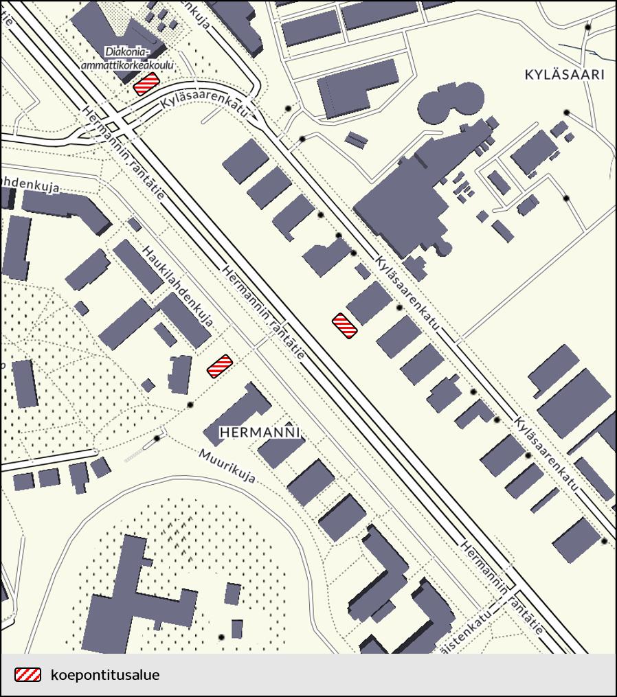 Koepontitusalueet kartalla