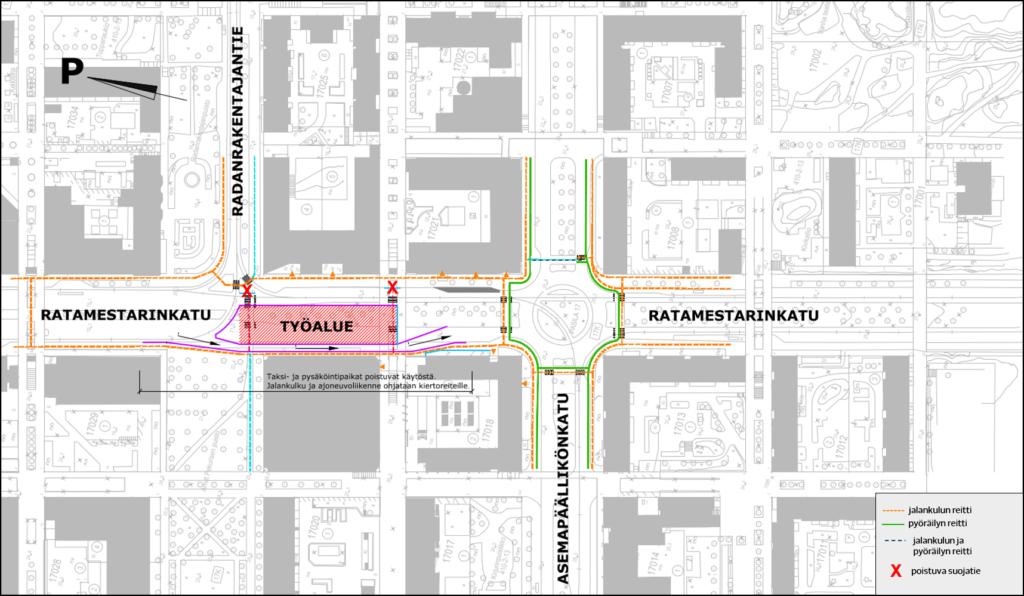 Työnaikaiset liikennejärjestelyt Ratamestarinkadulla.